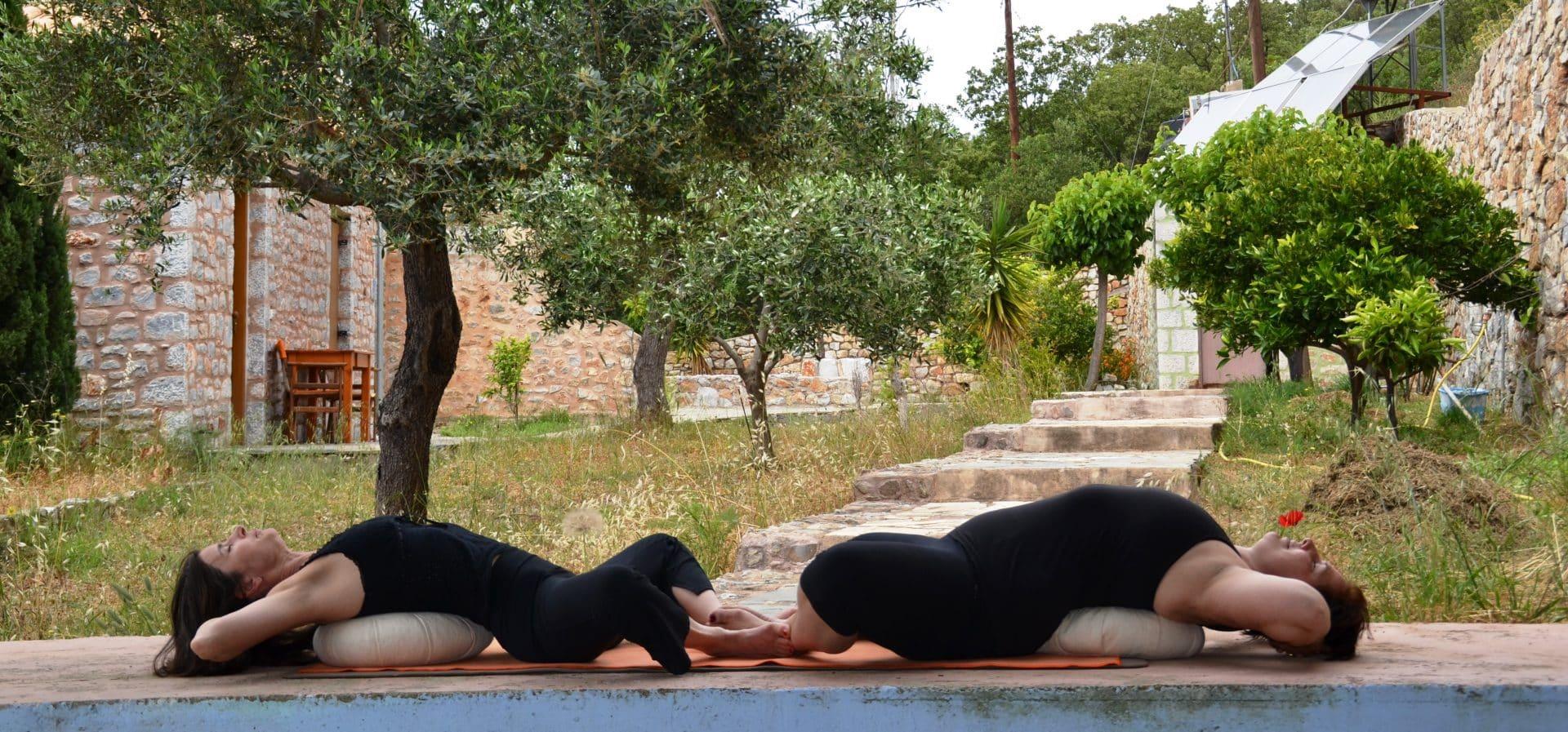 Reclining butterfly: uitzicht vanuit de yoga shala